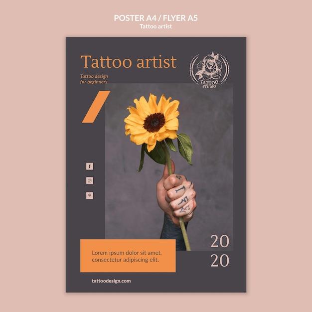 Flyer-sjabloon voor tattoo-artiest Gratis Psd