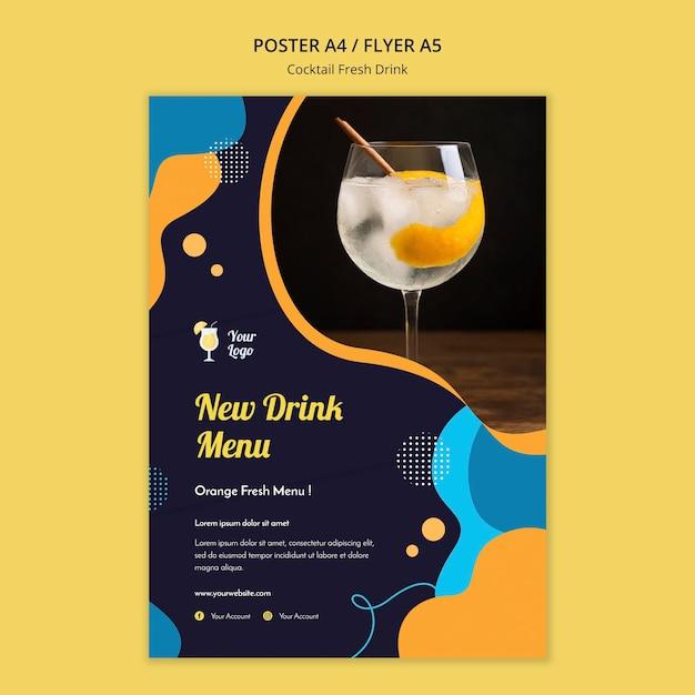 Flyer-sjabloon voor verschillende cocktails Gratis Psd