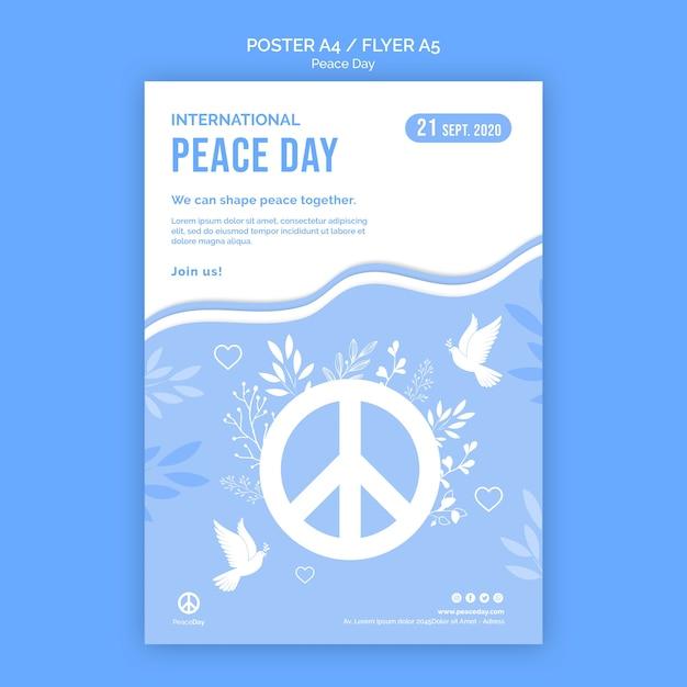Flyer-sjabloon voor vredesdag Gratis Psd