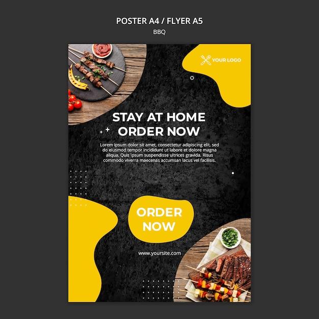 Flyer voor barbecuerestaurant Gratis Psd