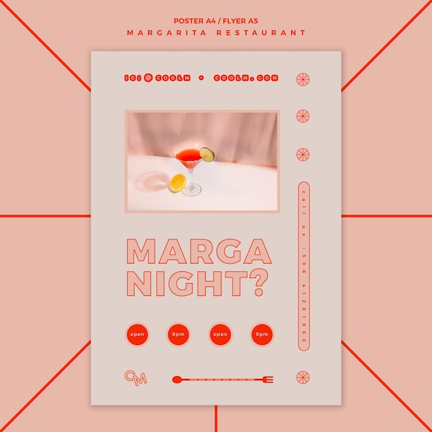 Flyer voor margarita-cocktaildrank Gratis Psd
