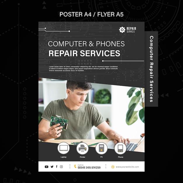 Flyer voor reparatiediensten voor computers en telefoons Gratis Psd