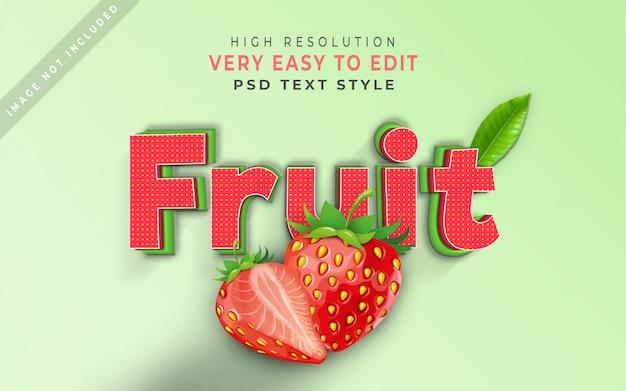 Foglia della fragola di effetto del testo stile della frutta 3d Psd Premium