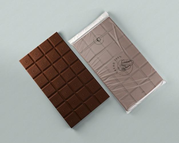 Foglio di cioccolato che avvolge mock-up Psd Gratuite