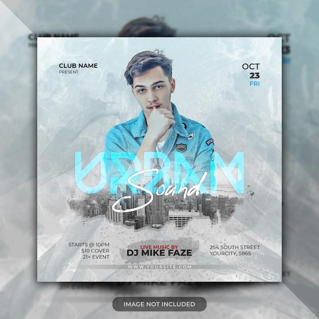 Folleto de concierto de música urbana en vivo o plantilla de póster de fiesta PSD Premium