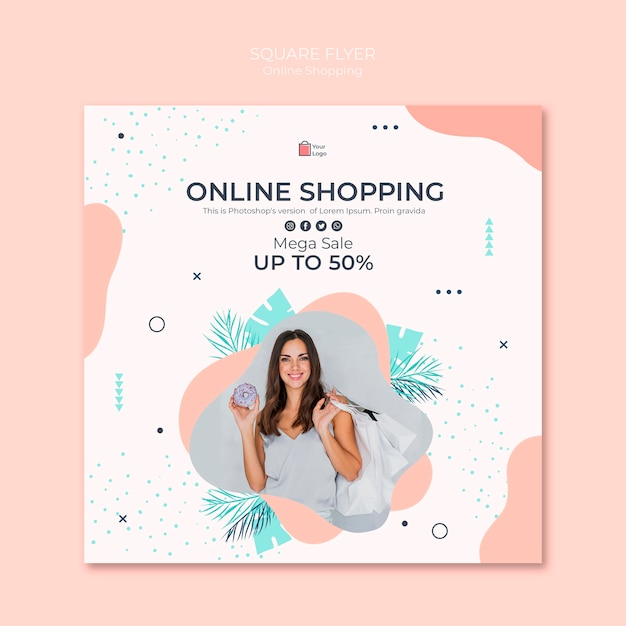 Folleto cuadrado de compras en línea PSD gratuito