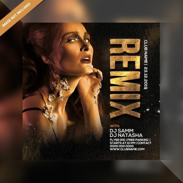 Folleto cuadrado dj remix party PSD Premium