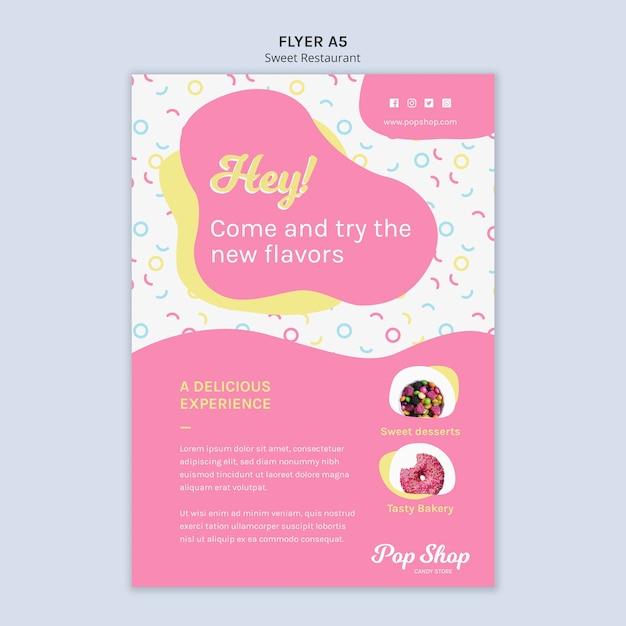 Folleto para el diseño de la tienda de dulces pop PSD gratuito