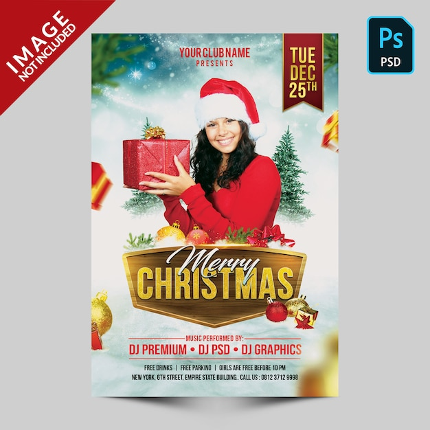 Folleto feliz navidad PSD Premium