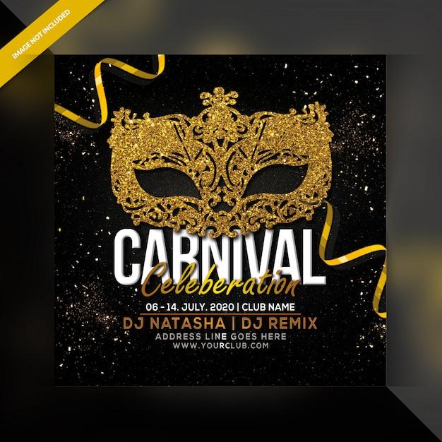 Folleto de fiesta de celebración de carnaval PSD Premium