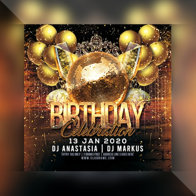 Folleto de fiesta de celebración de cumpleaños PSD Premium