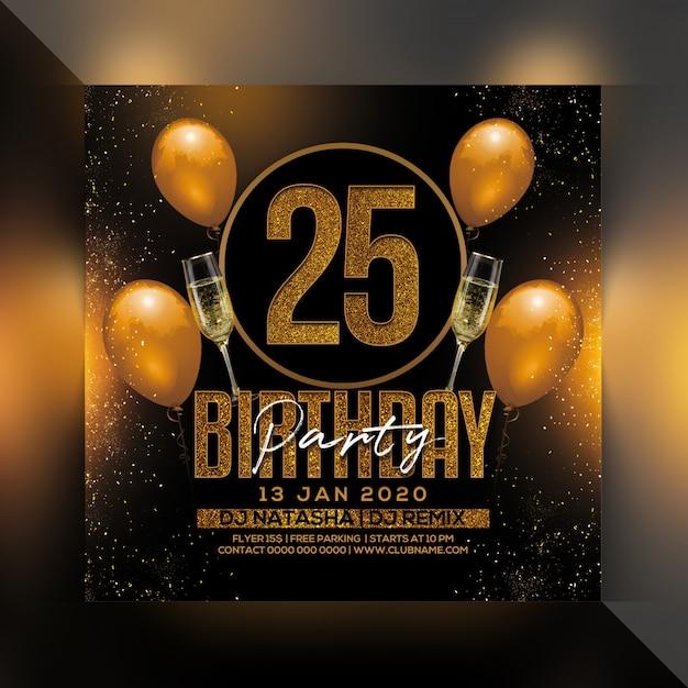 Folleto de fiesta de cumpleaños 25 PSD Premium