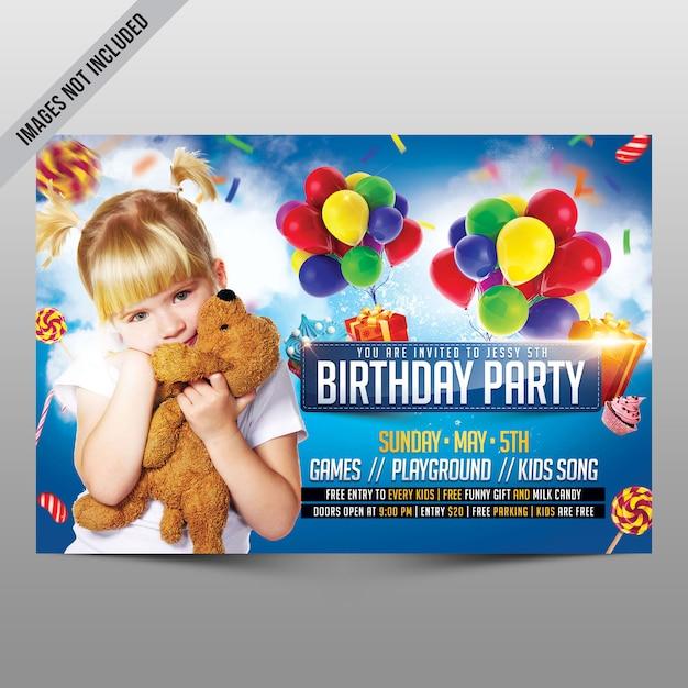 Folleto de fiesta de cumpleaños para niños PSD Premium