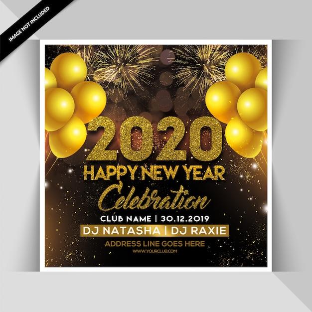 Folleto de fiesta de feliz año nuevo 2020 PSD Premium