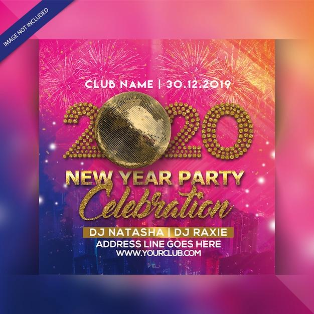 Folleto de fiesta de feliz año nuevo PSD Premium