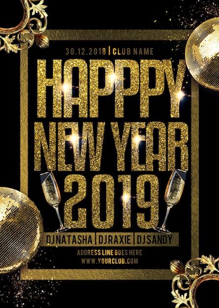Folleto de fiesta feliz año nuevo PSD Premium