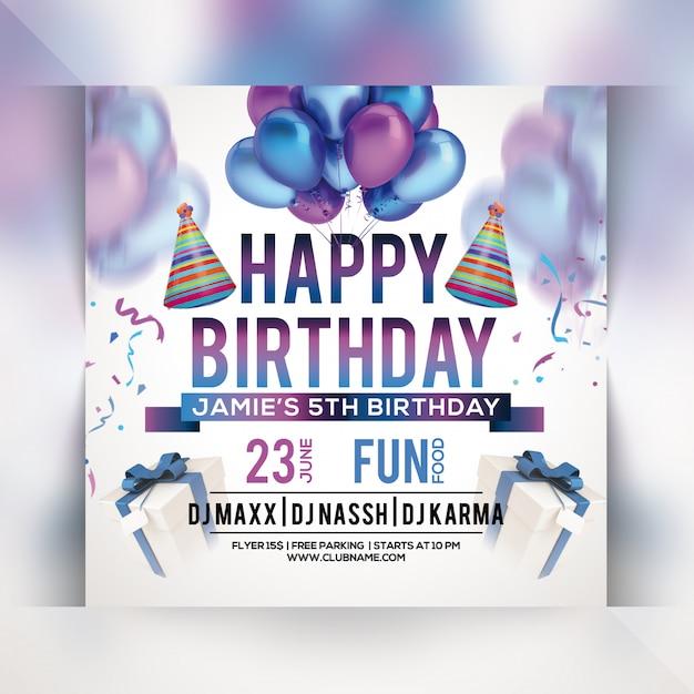 Folleto de fiesta de feliz cumpleaños PSD Premium