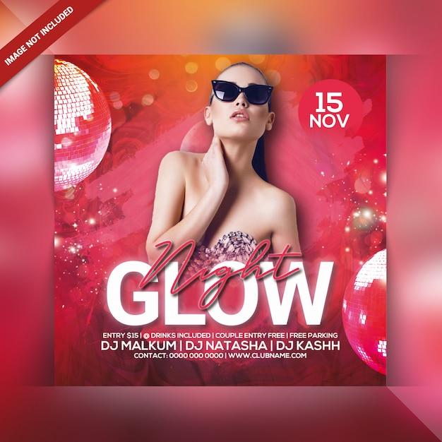 Folleto de fiesta de glow night PSD Premium