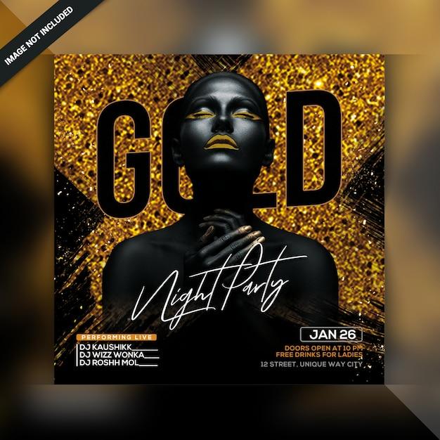 Folleto de fiesta gold night PSD Premium