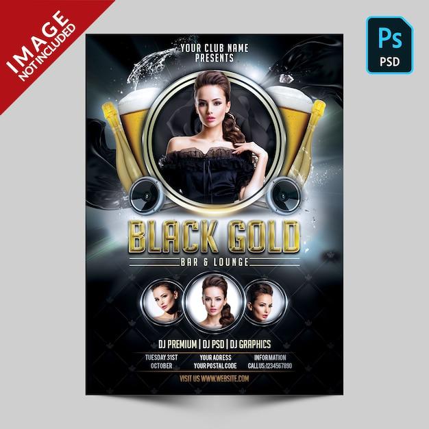 Folleto de fiesta negro y dorado PSD Premium