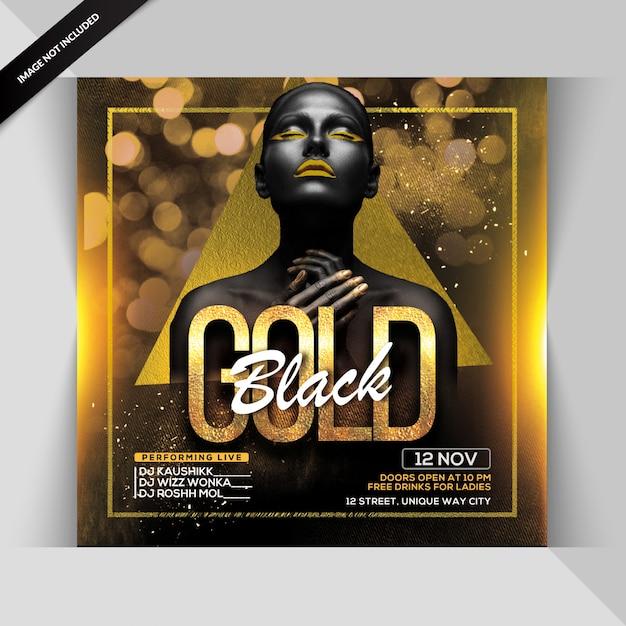 Folleto de fiesta negro dorado PSD Premium