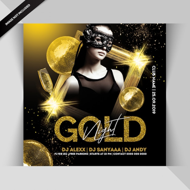 Folleto de fiesta de noche dorada PSD Premium