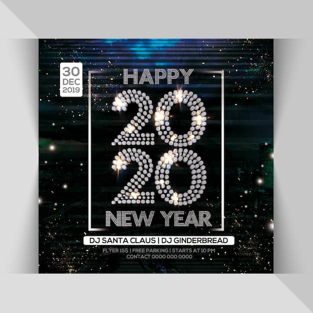 Folleto de fiesta de noche de feliz año nuevo 2020 PSD Premium