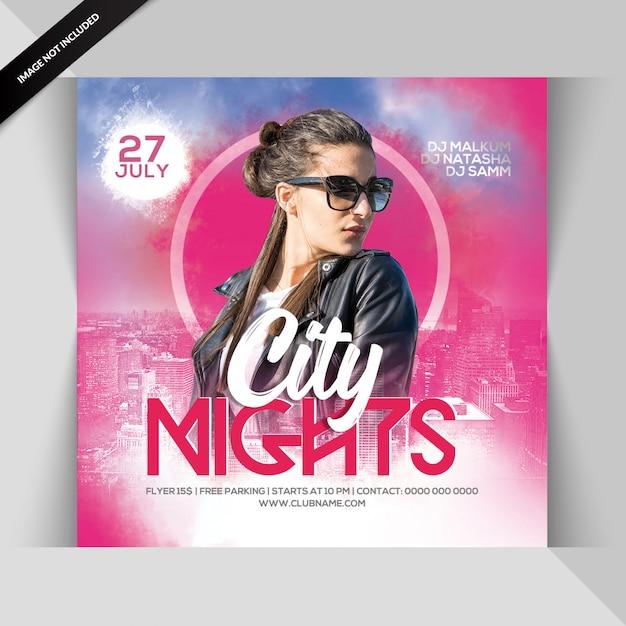 Folleto de fiesta nocturna de la ciudad PSD Premium