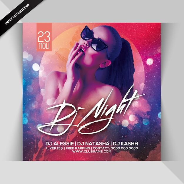 Folleto de fiesta nocturna de dj PSD Premium