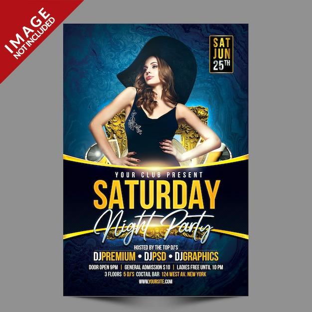Folleto de la fiesta del sábado por la noche PSD Premium
