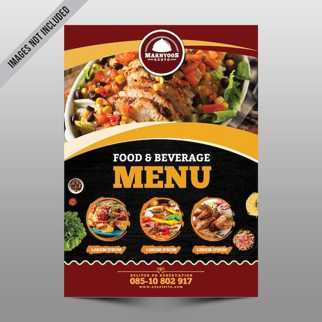 Folleto del menú de comida PSD Premium