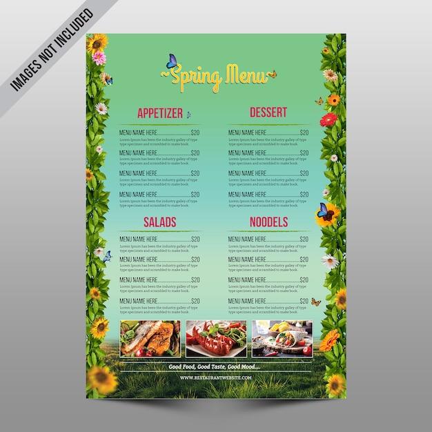 Folleto de menú de primavera PSD Premium