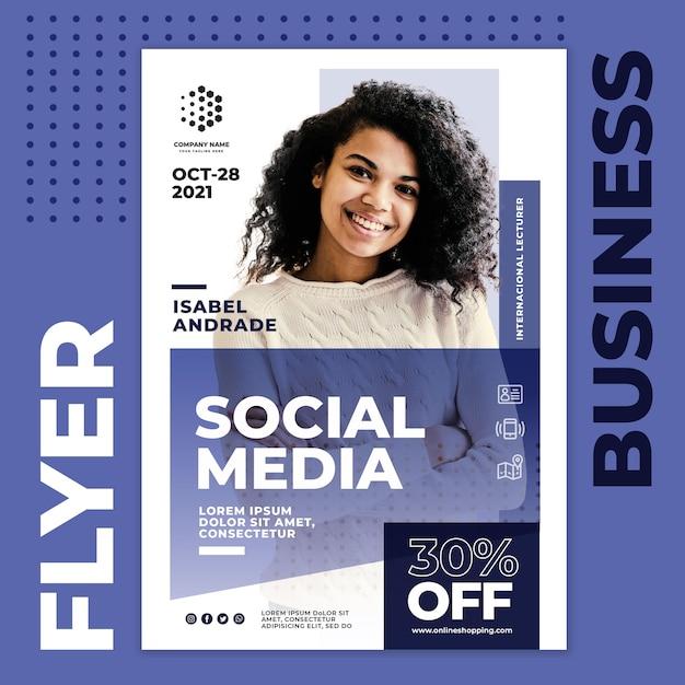 Folleto de negocios de redes sociales PSD gratuito