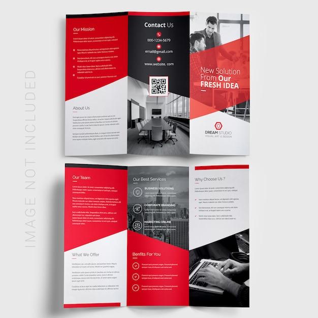 Folleto de negocios triple PSD Premium