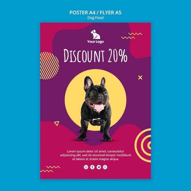 Folleto de plantilla de comida para perros PSD gratuito