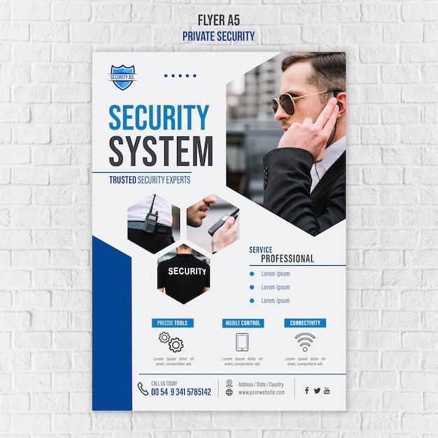 Folleto de plantilla de servicios de seguridad PSD gratuito