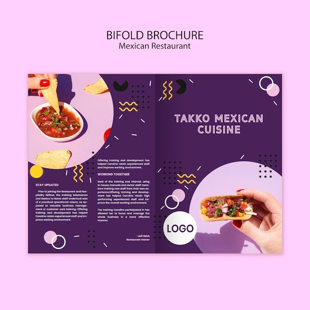 Folleto plegable colorido comida mexicana PSD gratuito