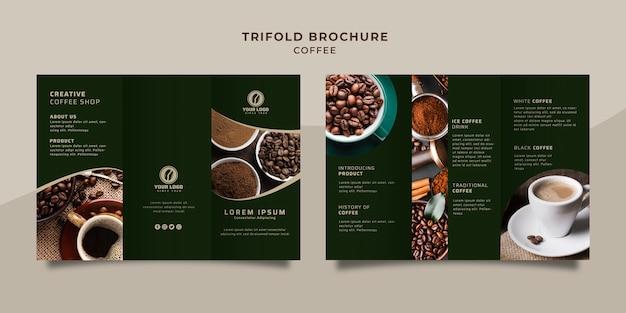 Folleto triple de café PSD gratuito