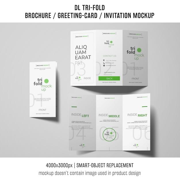 Folleto triple o maquetas de invitación PSD gratuito