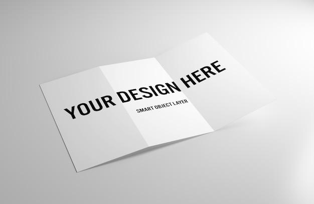 Folleto tríptico sobre maqueta de mesa blanca PSD Premium
