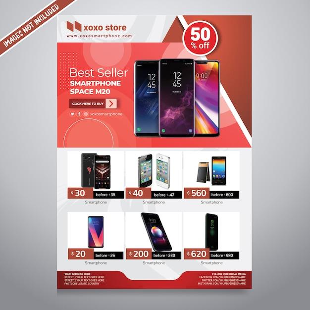 Folleto de ventas de teléfonos inteligentes PSD Premium