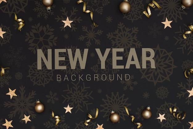 Fondo de año nuevo 2020 con estrellas y bolas de navidad PSD gratuito
