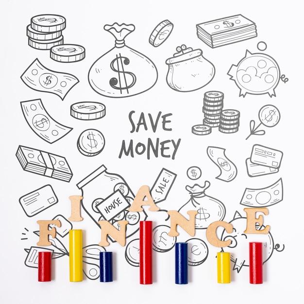 Fondo e istogramma finanziari di scarabocchio Psd Gratuite