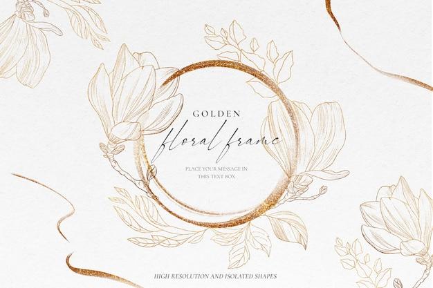 Fondo floral con naturaleza dorada PSD gratuito