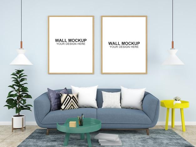Fondo interno della mobilia del pavimento del modello della camera del salone Psd Premium