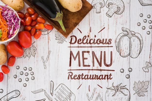 Fondo de menú de restaurante delicioso con espacio de copia PSD gratuito