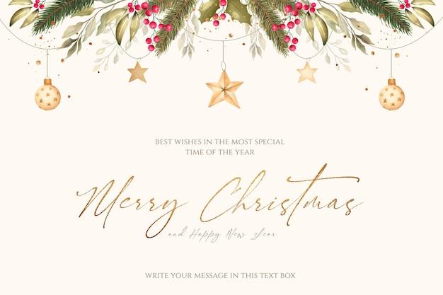 Fondo navideño con adornos de acuarela y naturaleza. PSD gratuito
