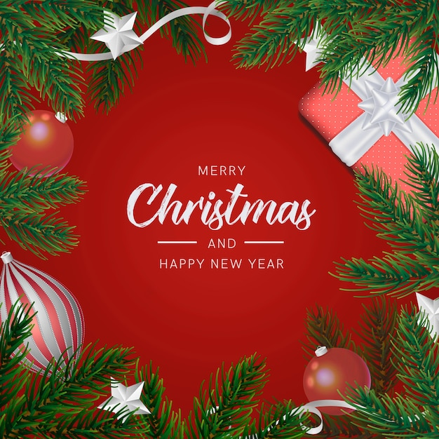 Fondo navideño con decoración realista PSD gratuito