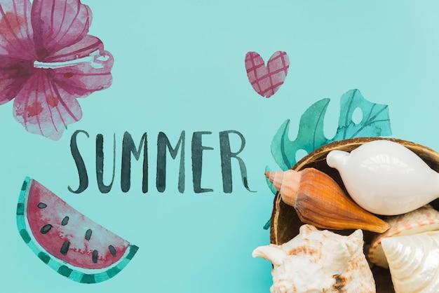 Fondo piatto estate laici con copyspace Psd Gratuite