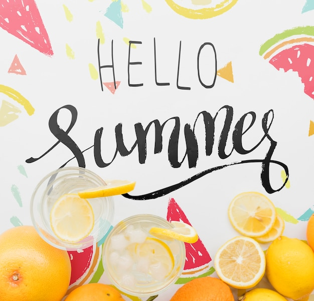 Fondo piatto estate laici con frutti esotici Psd Gratuite